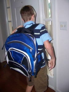 J heads off to the first day of fourth grade.